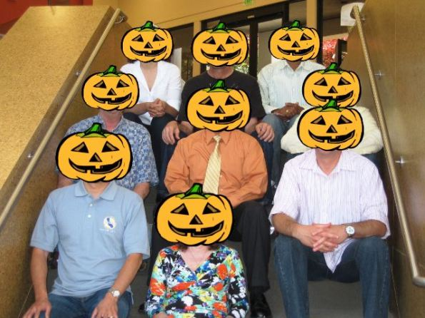 The fun-loving board members of NoCOUG wearing Halloween costumes
